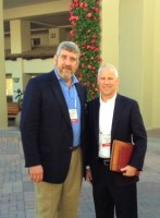 AgNet Media founder and president Gary Cooper (l) with HM.CLAUSE CEO Matthew Johnston - photo taken at a seed convention in California in early 2013.