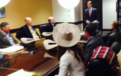 A group of Florida Cattlemen meeting with Senate President Andy Gardiner