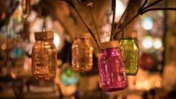 Mason Jars Multi-colored-Illuminated at Dusk