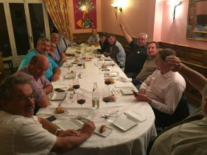 AgNet's Gary Cooper (Center left side blue shirt) is hosted for a dinner with a group of French cattle producers and industry leaders, who are planning a visit to the U. S. sometime within the next year.