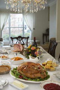 thanksgiving-dinner-on-table-in-elegant-home