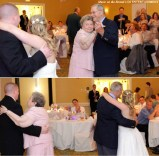 The bride and groom change partners with the longest married couple at the end of a longevity dance.