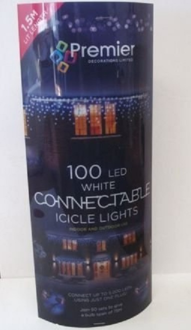100 White Icicle Led Connectable Christmas Fairy Lights