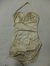 sateen swimsuit with boned bust