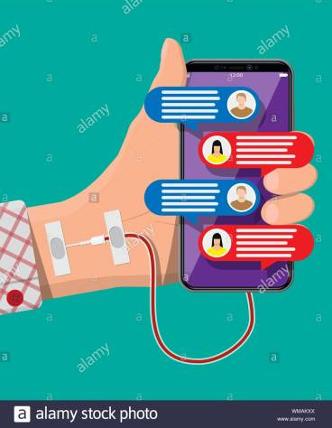 mans-hand-connected-with-needle-to-mobile-smart-phone-addiction-from-gadget-with-social-media-addicted-to-social-networks-chatting-and-messaging-vector-illustration-in-flat-style-WMAKXX