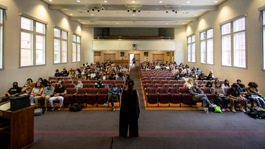 Renita Moore teaches her nursing Southern Connection class in Lynnwood Hall Chapel. This year, there have been higher enrollment numbers than in previous years. Wednesday, September 1, 2021. (Photo by: Xander Ordinola)