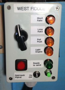 The Fiddle Yard Indicator panel.  The lamps are switched by the rotary switch at the opposite FY.  The red ready send button is pressed when a train is set up  and illuminates the green lamp at the other FY. The light green push button is the new switch to energise the track feed at the opposite FY exit.