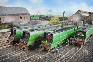 Merchant Navy 21C6 received attention from the Fisherton Sarum Engine Cleaners before its next turn of duty on the Atlantic Coast Express.