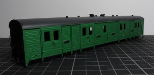 The Hornby Bogie Van B changes from blue to green over the weekend. Now to replace glazing, decal and re-affix chassis