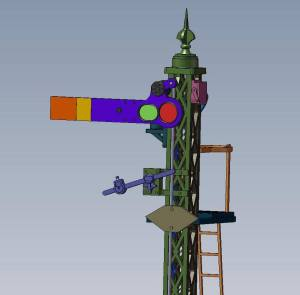 Dapol cad of the 4mm ex LSWR style lattice post working signal