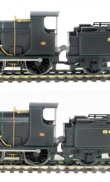 A view showing the loco to tender coupling distances, normal top and close below