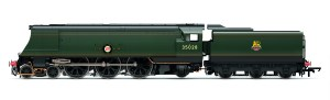 A computer rendered image of 35028 'Clan Line' as being released by Hornby