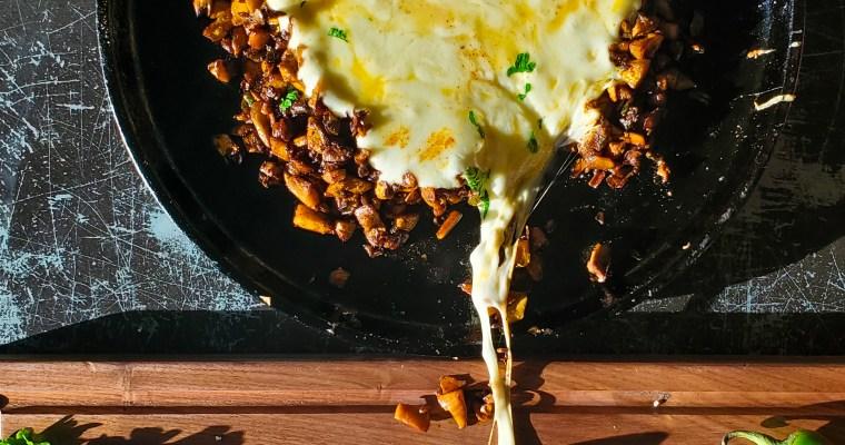 "Queso Flameado with Mushroom Jalapeno ""Chorizo"""