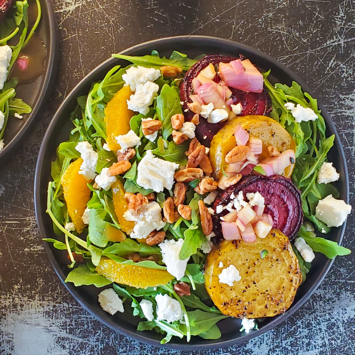 BEET SALAD WITH CITRUS, ARUGULA & PECANS