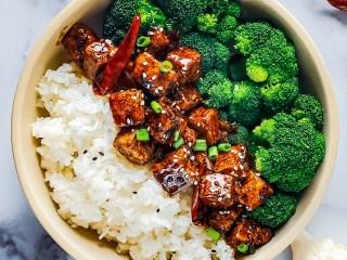 Crispy Sesame Tofu Recipe Flat Lay Image