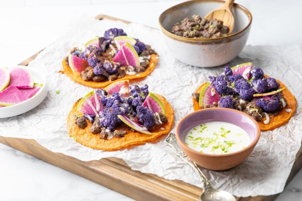 Tostadas with Purple Cauliflower and Black Beans 3x4 45