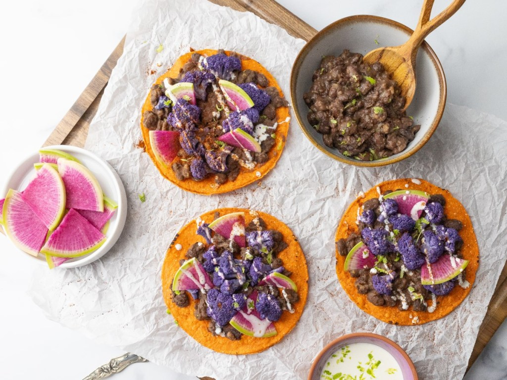 Tostadas with Purple Cauliflower and Black Beans 3x4 90
