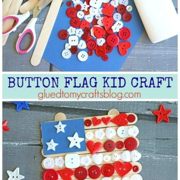 Popsicle Stick Button Flag