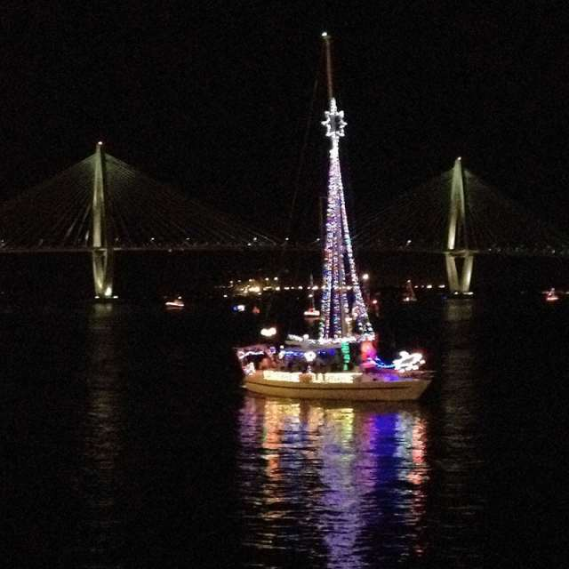 A sailboat decorated for the Charleston Boat Parade. Photo by Taylor Black.