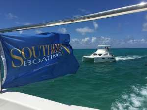 Southern Boating proudly flying it's burgee.