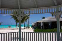 Watching a storm from a gazebo on Treasure Cay Beach at the Coco Beach Bar. Photo: Chuck Baier.