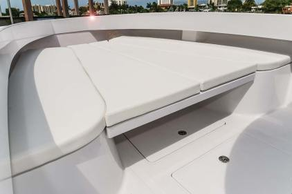 A spacious bow sunpad allows sunseekers room to spread out. Photo: Bahama Boat Works.com