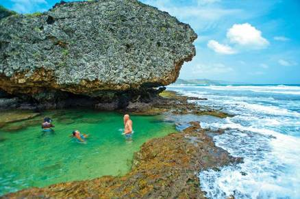 The Basin is a secret bathing spot beneath sea cliffs outside the small village of Bathsheba. The surrounding beaches along the wild east coast are often too rough for swimming. But the nearby surfing breaks - including the world famous Soup Bowl - draw an international crowd.
