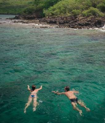 A couple swims in the clear waters of Martinique