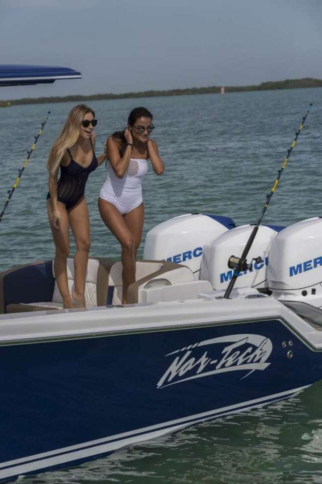 Models fishing on a new Nor-tech (South Florida Performance Boats)