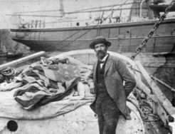 Portrait of Joshua Slocum. This photograph is believed to have been made in October, 1895, shortly after Joshua Slocum's Atlantic crossing from Gibraltar to Recife, Pernambuco, Brazil. Silver gelatin print. (Courtesy New Bedford Whaling Museum)