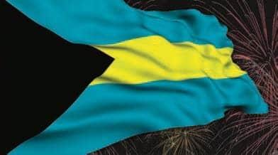 Bahamian flag with Fireworks