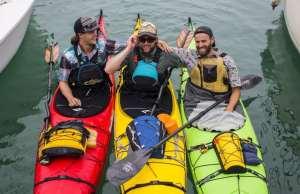 An image of three men Kayaking from Cuba, Kayakers set record