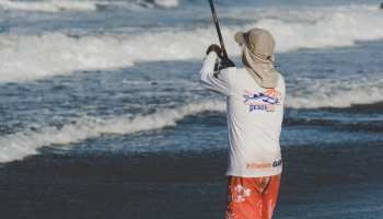 an image of an angler dressed to protect in a fishy fashion