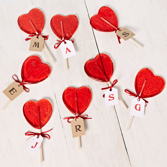 heart shaped lollipop wedding favor
