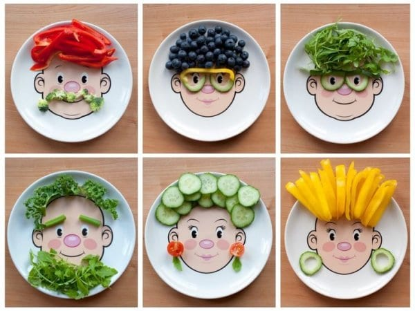 Fruits and Veggies on a kids plate