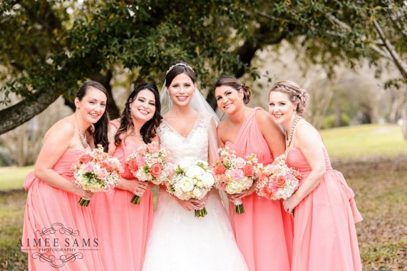 Warner Robins Georgia Atcheson Bridal Party - With and Peach Bouquet