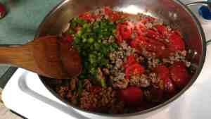 Texas Hash cooking in frying pan