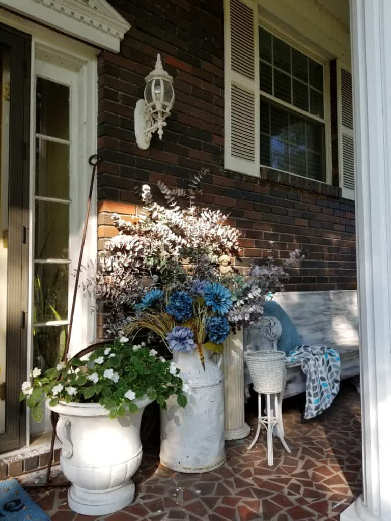 Update Past Front Porch Fall Decor, Fall front porch, Blue Fall decor