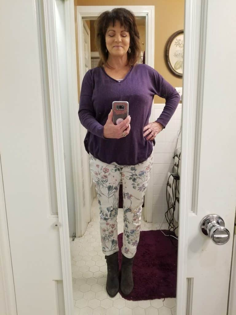 Midlife style, Over 50 style, Floral jeans, Stitch Fix style for midlife