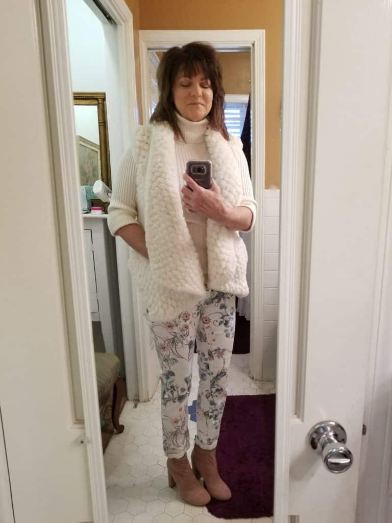 floral jeans, styling floral jeans for winter, Stitch fix