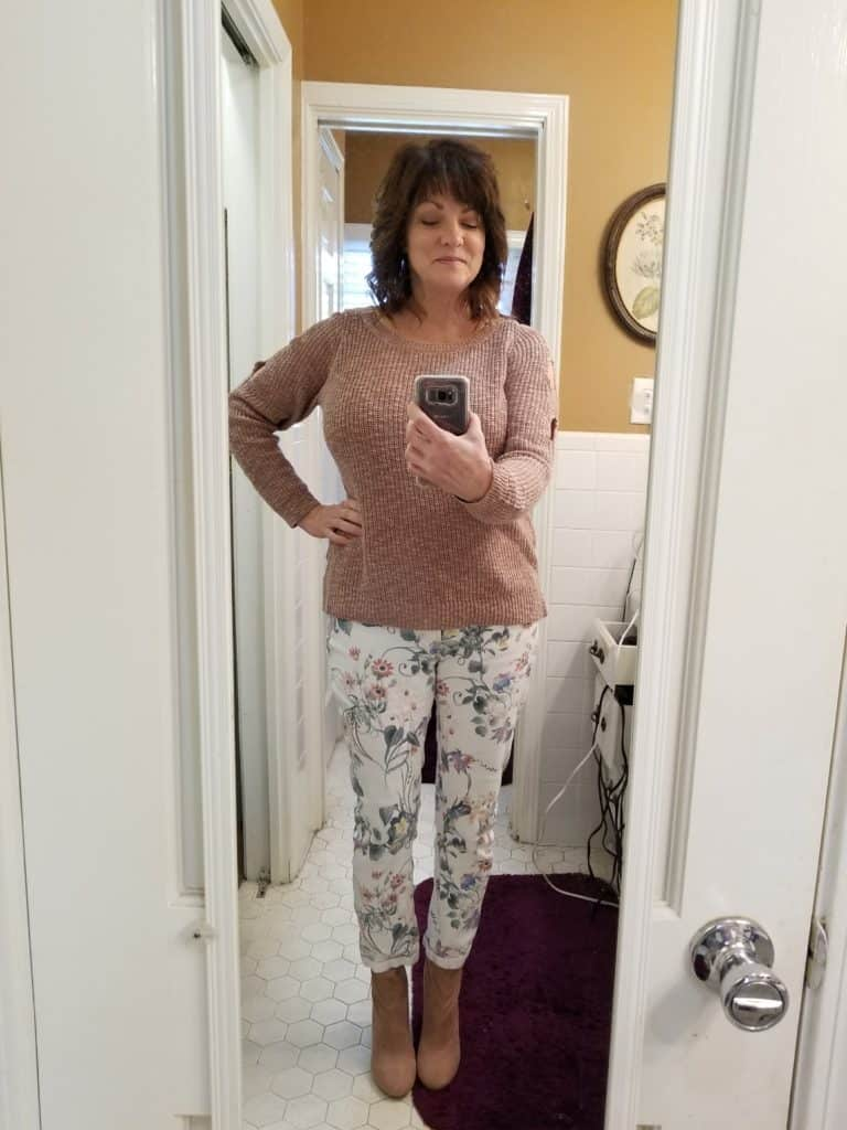 Floral jeans, midlife style, styling floral jeans in winter