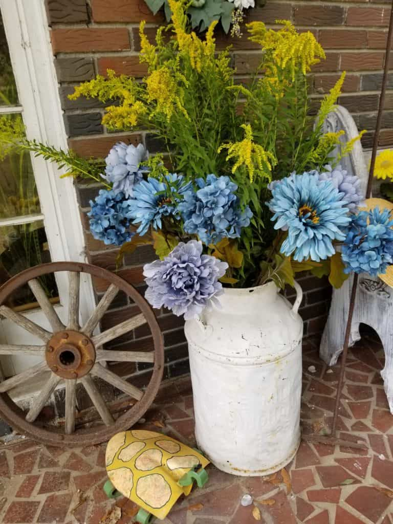 Update Past Front Porch Fall Decor, Blue and Yellow Front Porch Fall Decor