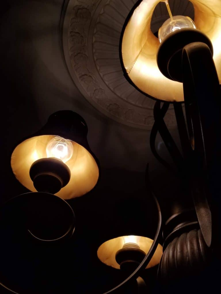 How to update a chandelier, painted lampshades