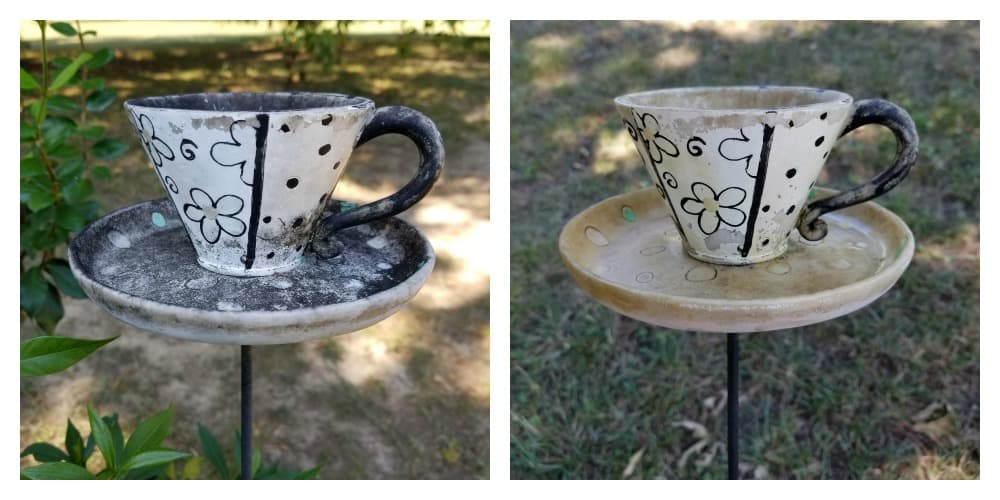 Outdoor teacup updated with spray paint