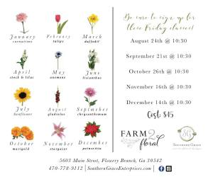 Floral Studio Florist Southern Grace Flower of the month workshop flowery branch gainesville georgia
