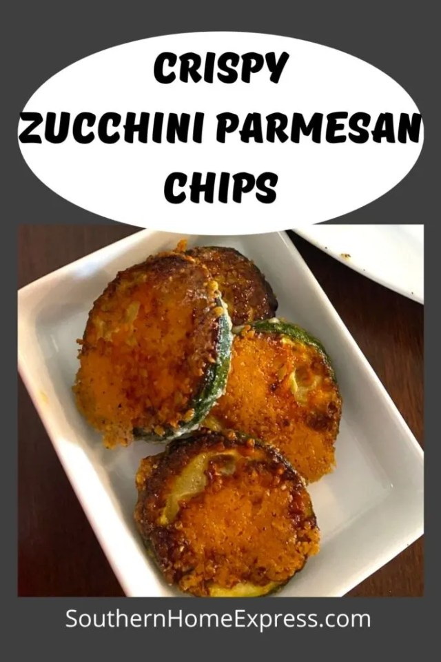 dinner zucchini parmesan chips on a small plate