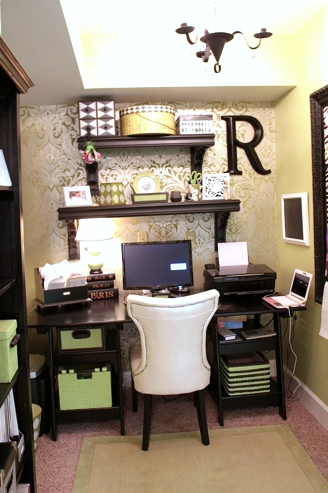 wallpapered office home design. For Details On The Updates With Wallpaper And Paint In Office Nook, Click Here. Wallpapered Home Design C