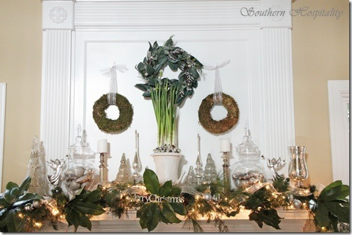 full mantel with 3 wreaths