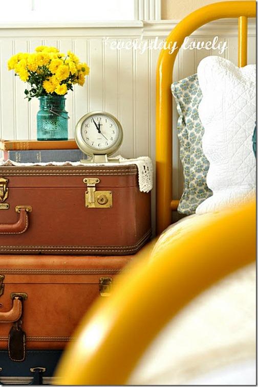 yellow iron bed
