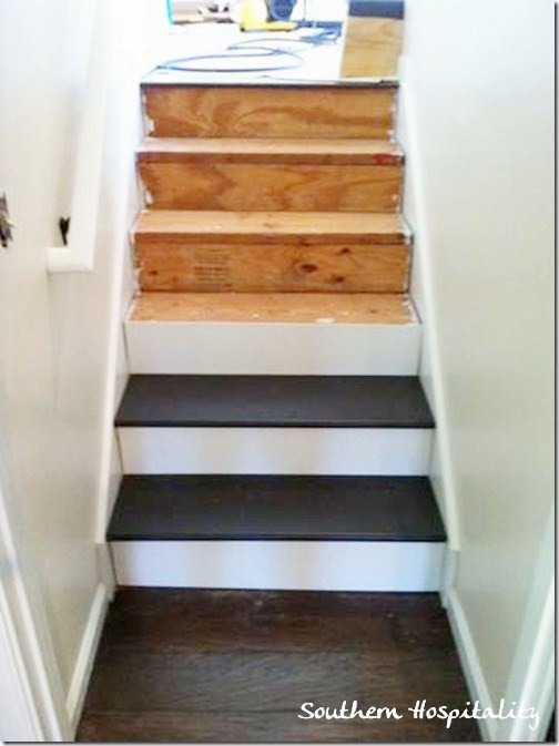 Next We Tackled The Stairs Going Down To The Den From The Living Room. Same  Method, One Stair At A Time. I Nailed In The Nails And Dad Took Charge Of  The ...